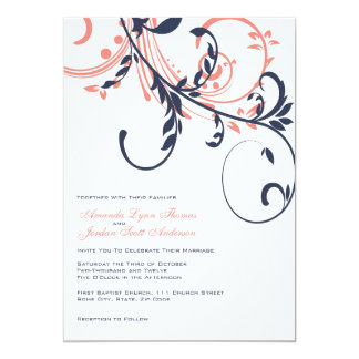 Blue and Pink Double Floral Wedding Invitation
