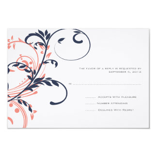 Blue and Pink Double Floral Wedding RSVP Announcement