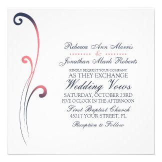 Blue and Pink Faded Flourish Wedding Invitation