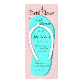Blue and Pink Flip Flop Bridal Shower Card