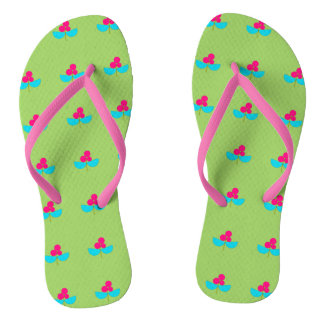 Blue and pink flowers on green thongs