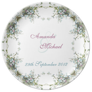 Blue and pink forget me nots plate