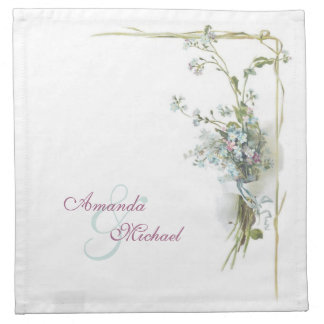 Blue and pink forget me nots wedding cloth napkin