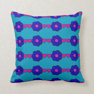 Blue And Pink Hearts And Flowers Throw Pillow