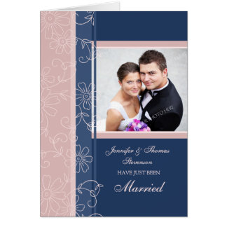 Blue and Pink Just Married Photo Announcement Card