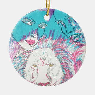 Blue and Pink Lions Round Ceramic Decoration