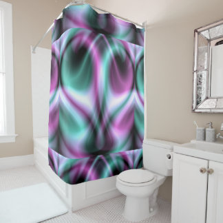 Blue and Pink Marble Heart Candy Shower Curtain