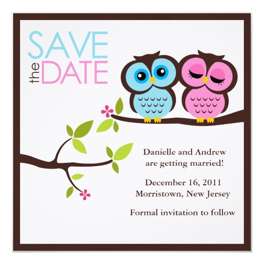 Blue and Pink Owls Wedding Card