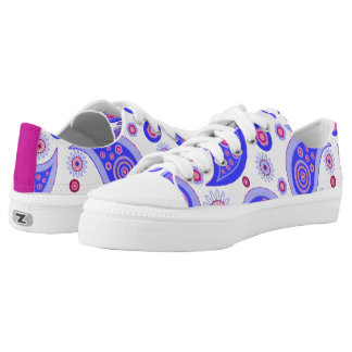 Blue and Pink Paisley Low Tops