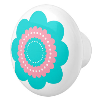Blue and Pink Polka Dot Flower Ceramic Knob