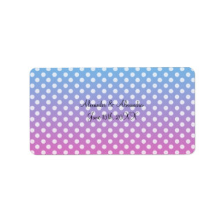 Blue and pink polka dots wedding favors address label