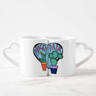 Blue and Pink Prickly Pair Heart Cactus Coffee Mug Set