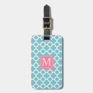 Blue and Pink Quatrefoil Monogram | Luggage Tag