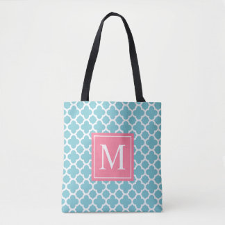 Blue and Pink Quatrefoil Monogram | Tote Bag