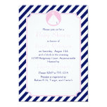 """Blue and Pink Sailboat  Baby Shower 5"""" X 7"""" Invitation Card"""