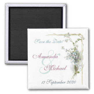 Blue and pink save the date magnet