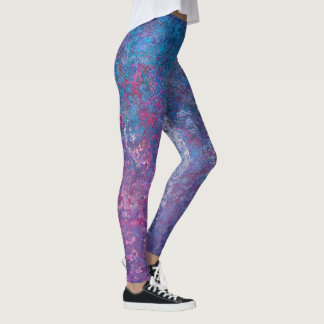 Blue and Pink Splatter Paint Texture Abstract Leggings