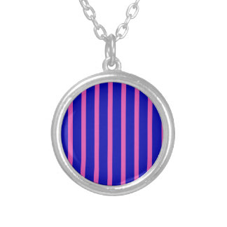 Blue and Pink Stripes Round Pendant Necklace