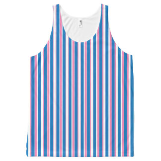 Blue and Pink Stripes Pattern All-Over Print Singlet