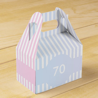 Blue and Pink Stripes Template Wedding Favour Box