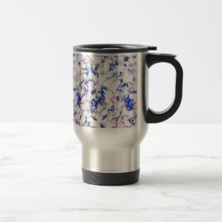 Blue and Pink Veined Marble Travel Mug