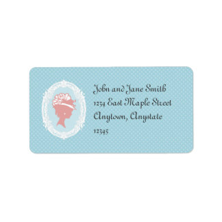 Blue and Pink Vintage Cameo Address Label
