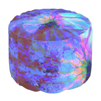 Blue and Purple Abstract Design Pouf