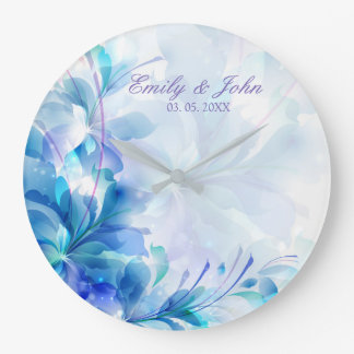 Blue And Purple Abstract Flowers - Save The Date Large Clock