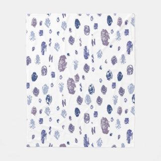 Blue and Purple Abstract Raindrops Fleece Blanket