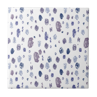 Blue and Purple Abstract Raindrops Small Square Tile