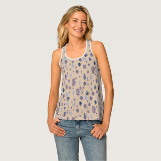 Blue and Purple Abstract Raindrops Tank Top