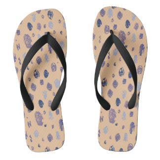 Blue and Purple Abstract Raindrops Thongs