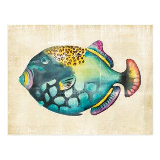 Blue and Purple Aquarium Fish Postcard