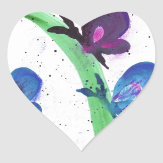 Blue and Purple Butterflies Heart Sticker