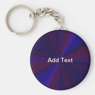 Blue and Purple Circular Patchwork Array 1 Basic Round Button Key Ring