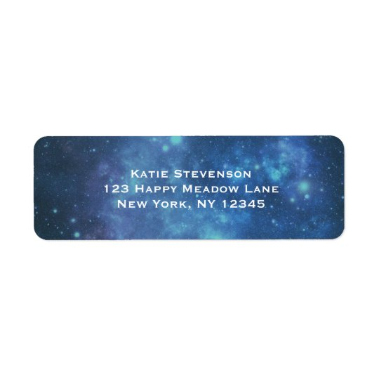 Blue and Purple Cosmic Space Image Return Address Label