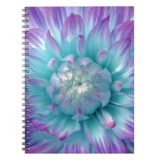 Blue and Purple Dahlia GIft Item Spiral Notebook