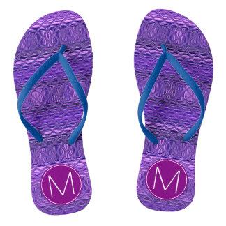Blue and Purple Diamond Monogram Flip Flops