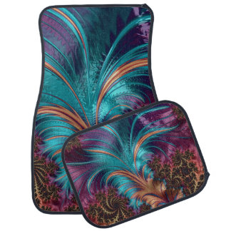 Blue and Purple Feather Design Set of 4 Car Mats