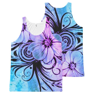 Blue and Purple Floral All-Over Print Singlet