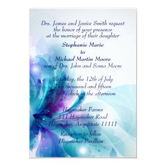 Blue and Purple Floral Design Wedding Invitation