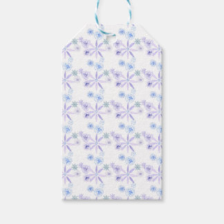 Blue and purple floral gift tag