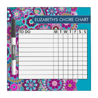 Blue and Purple Floral Pattern Chore Chart Dry Erase White Board