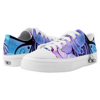 Blue and Purple Floral Printed Shoes