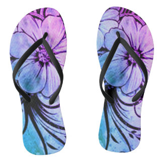 Blue and Purple Floral Thongs