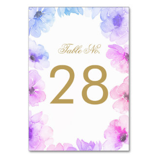 Blue and Purple Floral Wedding Table Number