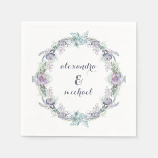 Blue and Purple Floral Wreath Wedding Disposable Napkins