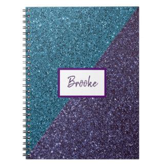 Blue and Purple Glitter Notebook