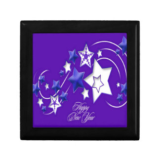 Blue and Purple Happy New Year Shooting Stars Gift Box