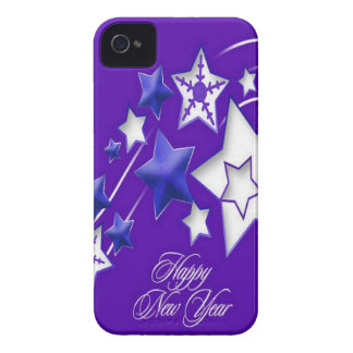 Blue and Purple Happy New Year Shooting Stars iPhone 4 Case